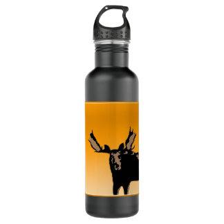 Moose at Sunset  - Original Wildlife Art 710 Ml Water Bottle