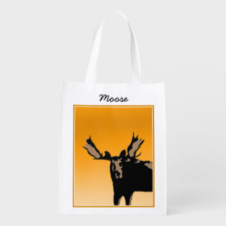 Moose at Sunset Reusable Grocery Bag
