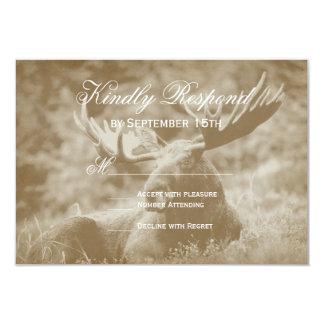 Moose Big Game Wildlife Antlers Wedding RSVP Cards 9 Cm X 13 Cm Invitation Card