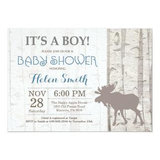 Moose Boy Baby Shower Invitation Rustic Woodland