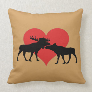 moose bull and cow throw pillow