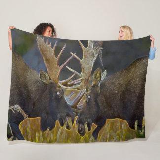 Moose Bull Fight Nature Wildlife Art Fleece Blanket