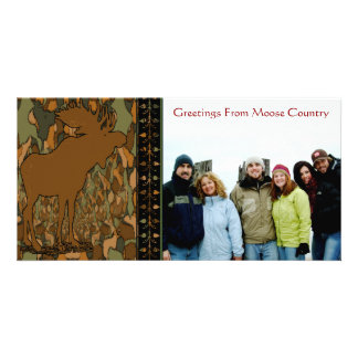 Moose Camouflage Gifts and Invitations Custom Photo Card