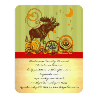 Moose Christmas 11 Cm X 14 Cm Invitation Card