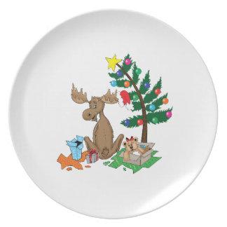 Moose Christmas tree plate
