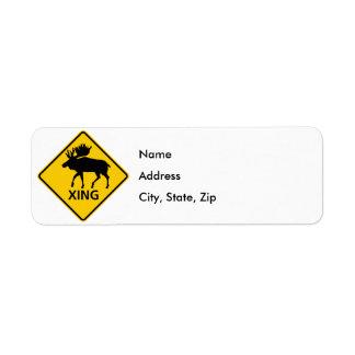 Moose Crossing Highway Sign Return Address Label