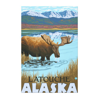 Moose Drinking at Lake - Latouche, Alaska Canvas Prints