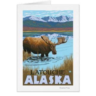 Moose Drinking at Lake - Latouche, Alaska Greeting Card
