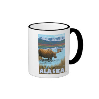 Moose Drinking at Lake - Latouche, Alaska Coffee Mug