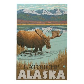 Moose Drinking at Lake - Latouche, Alaska Wood Canvases