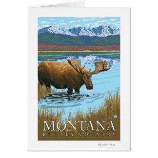 Moose Drinking at Lake - Montana Card