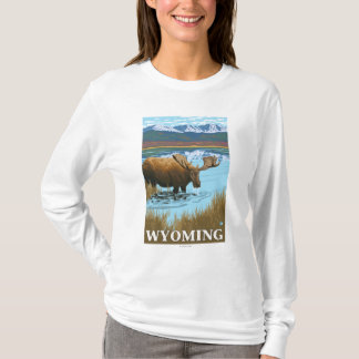 Moose Drinking at Lake - Wyoming T-Shirt
