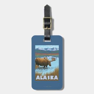 Moose Drinking Water Vintage Travel Poster Luggage Tag