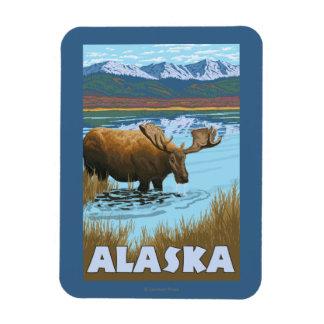 Moose Drinking Water Vintage Travel Poster Magnet