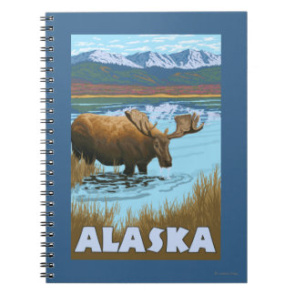 Moose Drinking Water Vintage Travel Poster Spiral Notebook