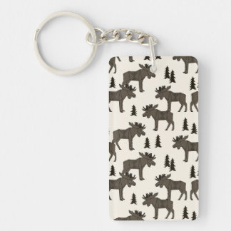 Moose Forest - Dark Brown Cream / Andrea Lauren Double-Sided Rectangular Acrylic Key Ring