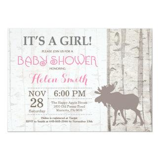 Moose Girl Baby Shower Invitation Rustic Woodland