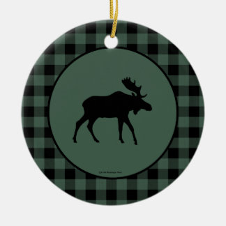 Moose Green Black Plaid Border Ceramic Ornament