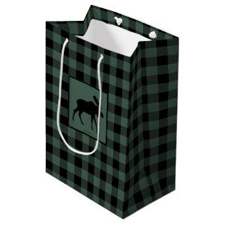 Moose Green Black Plaid Medium Gift Bag