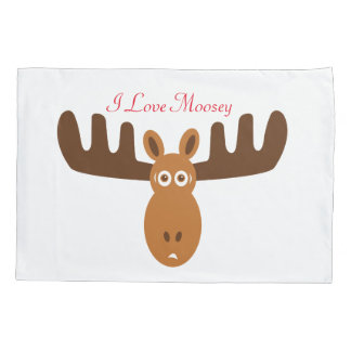 Moose Head_I Love Moosey_whimsical & humorous Pillowcase