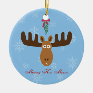 Moose Head_Merry Kissmoose_Happy Gnu Year! Christmas Tree Ornaments