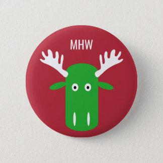 Moose Head Pop Art custom monogram button