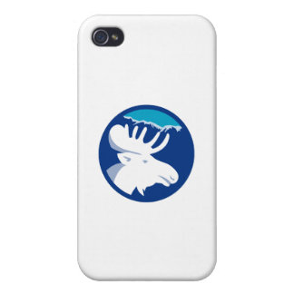 Moose Head Side View Circle Retro Case For iPhone 4