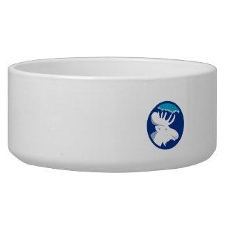 Moose Head Side View Circle Retro Dog Bowls