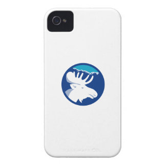 Moose Head Side View Circle Retro iPhone 4 Case-Mate Cases