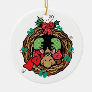 Moose Holiday Wreath Ceramic Ornament
