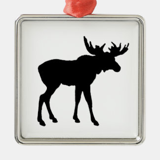 Moose Icon Silver-Colored Square Decoration