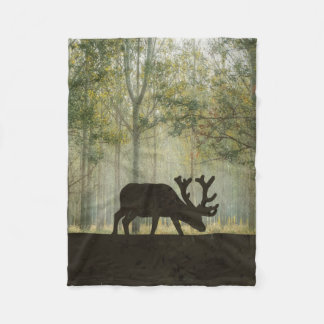 Moose in Forest Illustration Fleece Blanket