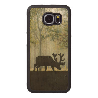 Moose in Forest Illustration Wood Phone Case