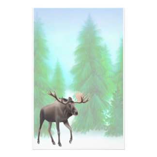 Moose in Pine Forest Stationery