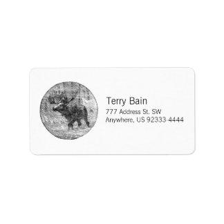 Moose in Snow Emblem Address Label