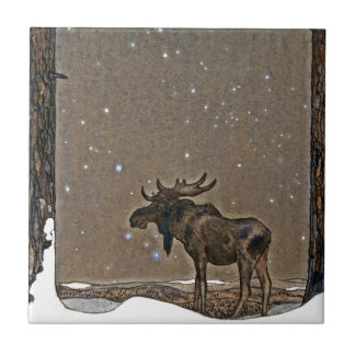 Moose in Snow Small Square Tile
