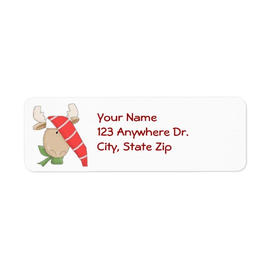 Moose in Stocking Cap Return Address Label
