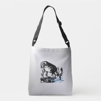 Moose in Stream Crossbody Bag