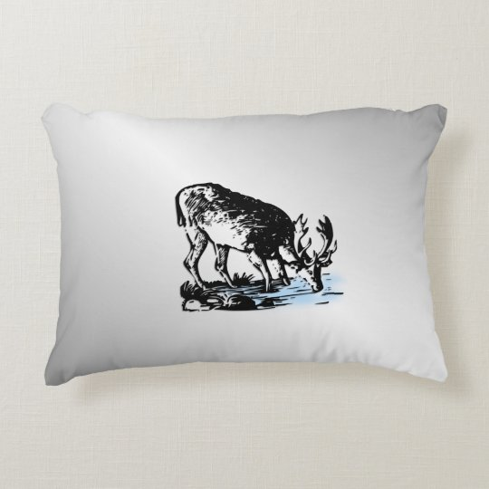 Moose in Stream Decorative Cushion