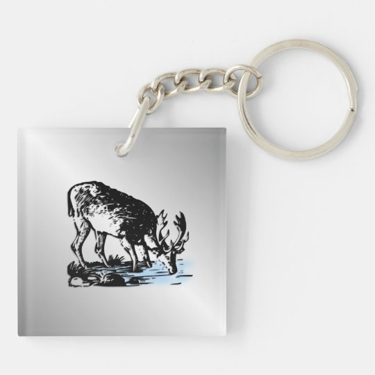Moose in Stream Double-Sided Square Acrylic Key Ring