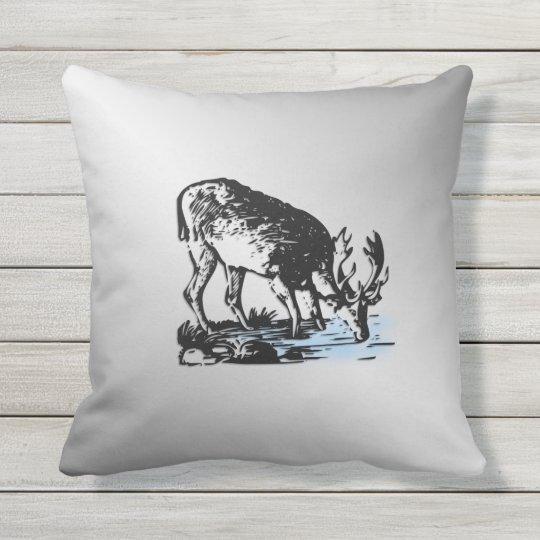 Moose in Stream Outdoor Cushion