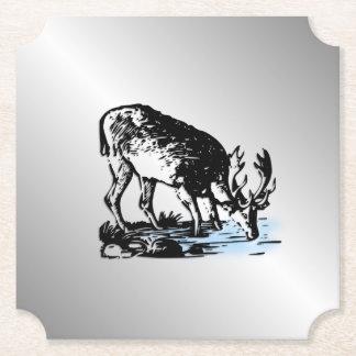 Moose in Stream Paper Coaster