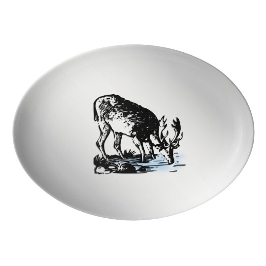 Moose in Stream Porcelain Serving Platter