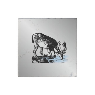 Moose in Stream Stone Magnet