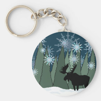 Moose in the Snowy Forest Key Ring