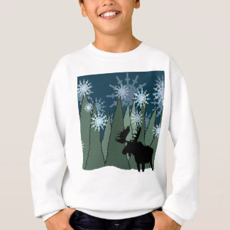Moose in the Snowy Forest Sweatshirt