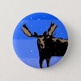 Moose in Winter 6 Cm Round Badge