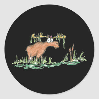 Moose on the loose round sticker