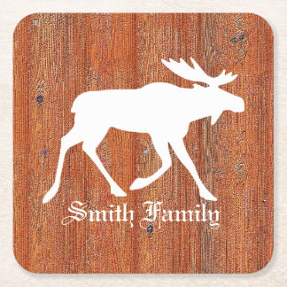 Moose on Weathered Pine Square Paper Coaster