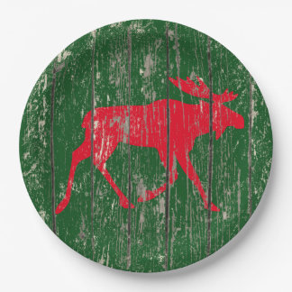 Moose on Your Color Weathered Wood Paper Plate